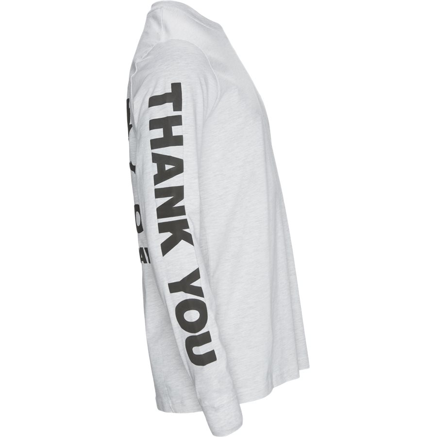 THANK YOU LONG TEE - Thank You Long Tee - T-shirts - Regular - GRÅ MEL - 4